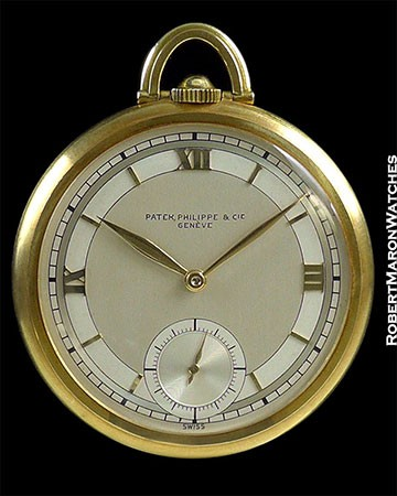 PATEK PHILIPPE 18K POCKET WATCH SECTOR DIAL BOX & PAPERS