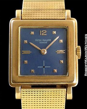 PATEK PHILIPPE SQUARE BLUE DIAL 18K ROSE GOLD