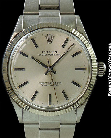 ROLEX OYSTER PERPETUAL STEEL & 18K WHITE GOLD 1005