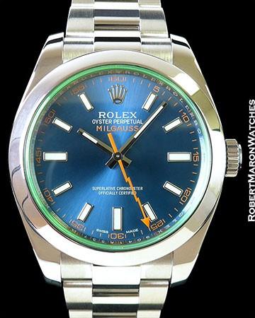 ROLEX 116400GV MILGAUSS BLUE DIAL BOX PAPERS