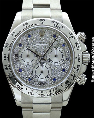 ROLEX DAYTONA 116509 18K WHITE GOLD PAVE DIAMOND DIAL w/ BLUE SAPPHIRE MARKERS