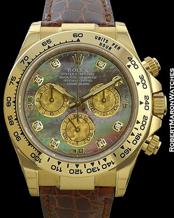 ROLEX DAYTONA 18K 116518 TAHITIAN MOTHER OF PEARL NEW BOX & PAPERS