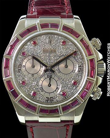 ROLEX 116589 DAYTONA 18K WHITE GOLD BAGUETTE PINK SAPPHIRE BEZEL PAVE DIAMOND DIAL