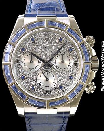 ROLEX 116589 DAYTONA 18K WHITE GOLD BAGUETTE SAPPHIRE BEZEL PAVE DIAMOND DIAL