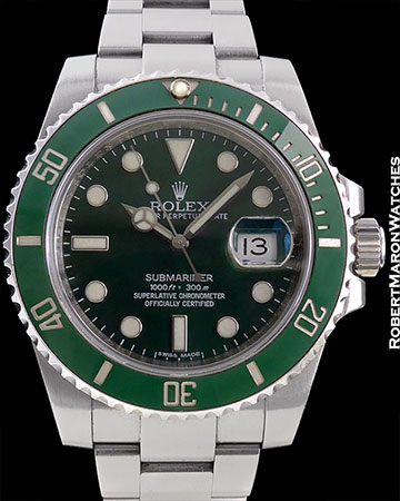 "ROLEX REF 116610LV SUBMARINER ""HULK"" STEEL BOX/PAPERS"