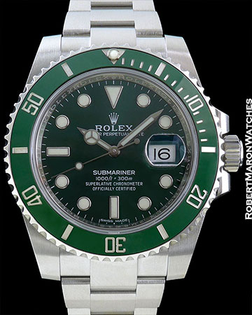 "ROLEX REF 116610LV SUBMARINER ""HULK"" STEEL NEW BOX/PAPERS"