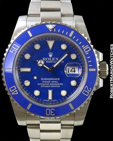 ROLEX 116619 SUBMARINER 18K WHITE GOLD BLUE DIAL
