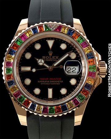 ROLEX YACHT MASTER 116695SATS RAINBOW BEZEL 18K ROSE GOLD NEW BOX & PAPERS