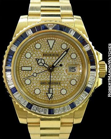 ROLEX 116748 GMT MASTER II SA 18K YG PAVE DIAMOND DIAL SAPPHIRES AUTOMATIC