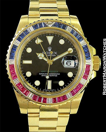 ROLEX GMT II 116748 SARU 18K SAPPHIRES RUBIES DIAMONDS BOX PAPERS