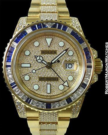 ROLEX 116758SA GMT II 18K SAPPHIRE DIAMOND BAGUETTE PAVE DIAL & BRACELET