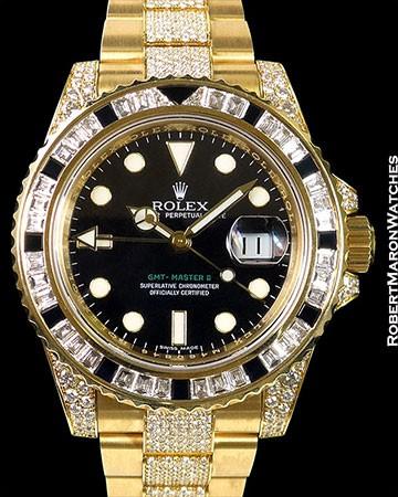 ROLEX 116758 SANR GMT II 18K PAVE DIAMONDS BAGUETTE BEZEL
