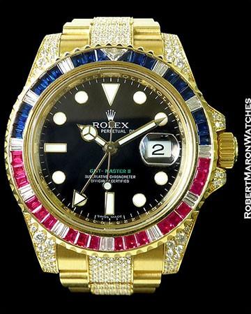 ROLEX 116758 SARU GMT II 18K DIAMONDS RUBIES SAPPHIRES PAVE BRACELET