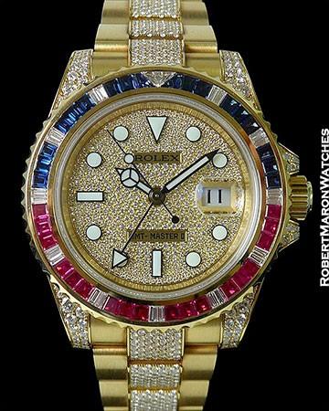 ROLEX 116758SARU GMT II 18K DIAMOND PAVE SAPPHIRES RUBIES BOX PAPERS