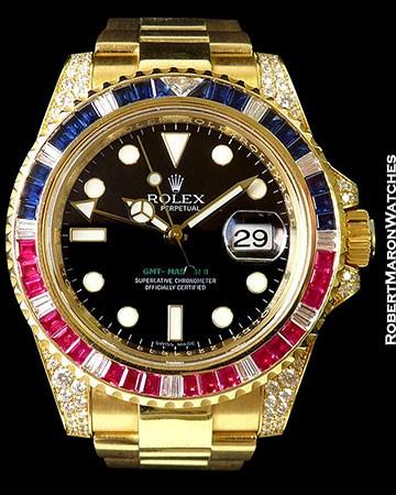 ROLEX 116758 SARU GMT II 18K DIAMONDS RUBIES SAPPHIRES