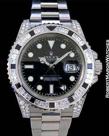 ROLEX 116759SANR GMT II 18K WHITE GOLD DIAMONDS BLACK SAPPHIRES BOX PAPERS