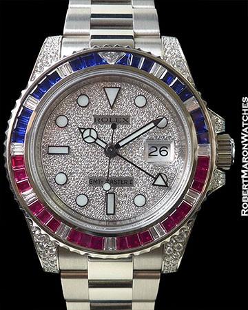ROLEX 116759SARU GMT II 18K WHITE GOLD  SAPPHIRE RUBIES DIAMONDS PAVE DIAL