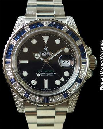 ROLEX 116759SA GMT MASTER II 18K WHITE GOLD BAGUETTE DIAMOND/SAPPHIRE BEZEL NEW BOX & PAPERS