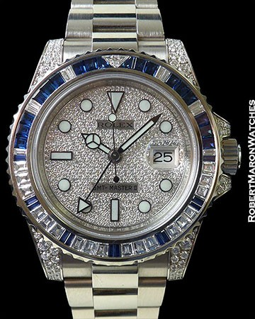 ROLEX 116759SA GMT MASTER II 18K WHITE GOLD BAGUETTE DIAMONDS/SAPPHIRES PAVE DIAL NEW