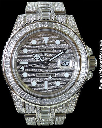 ROLEX GMT MASTER II ICE 116769TBR 18K WHITE GOLD PAVE DIAMONDS