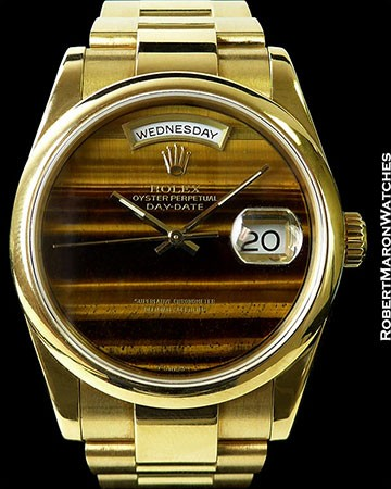 ROLEX 118208 DAY DATE PRESIDENT 18K AUTOMATIC TIGERS EYE