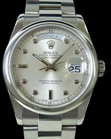 ROLEX 118209 DAY DATE PRESIDENT 18K WHITE GOLD PINBALL DIAL BOX & PAPERS