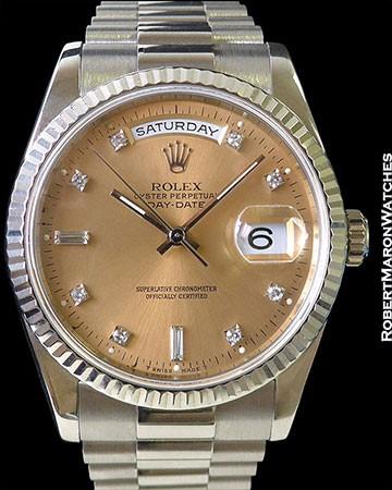 ROLEX 118239 18K WHITE GOLD DAY DATE SALMON DIAMOND DIAL