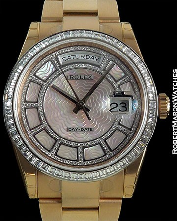 ROLEX DAY DATE 118395BR EVEROSE CAROUSEL OF PINK MOTHER OF PEARL NEW