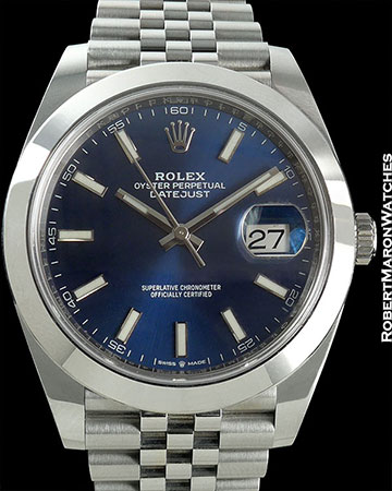 ROLEX REF 126300 DATEJUST 41 BLUE DIAL STEEL