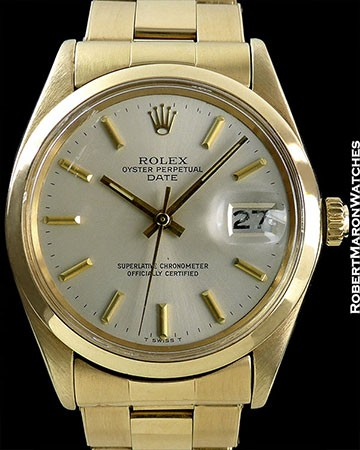 ROLEX 18K DATE REF 1500 RARE MINT EXAMPLE WITH SMOOTH BEZEL CIRCA 1970