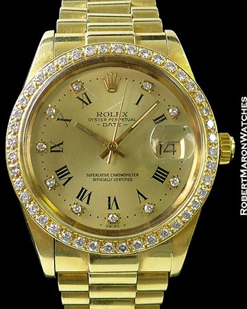 ROLEX 15038 DATE 18K PRESIDENT BRACELET DIAMOND BEZEL