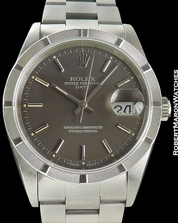 ROLEX REF 15210 OYSTER PERPETUAL DATE STAINLESS AUTOMATIC BOX/PAPERS