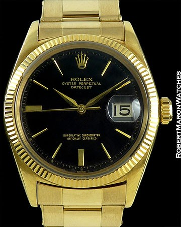 ROLEX DATEJUST EARLY 1601 18K BLACK DIAL