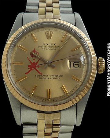 ROLEX REF 1601 DATEJUST GOLD DIAL SAUDI LOGO 18K ROSE GOLD/STAINLESS STEEL CIRCA 1974