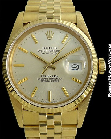 ROLEX 16018 DATEJUST 18K JUBILEE TIFFANY