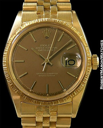 ROLEX 1607 UNPOLISHED 18K DATEJUST GOLDEN TAUPE DIAL