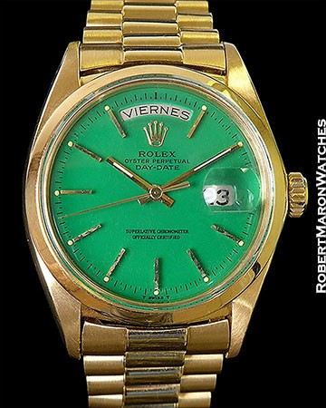 ROLEX 1802 DAY DATE GREEN STELLA DIAL 1967