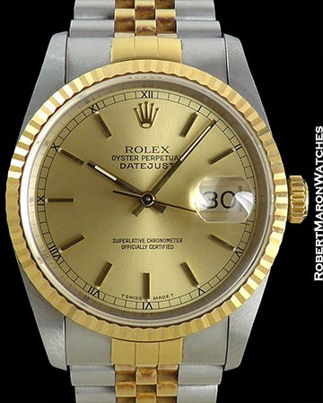 ROLEX DATEJUST 18K/STEEL 16233 NEVER POLISHED
