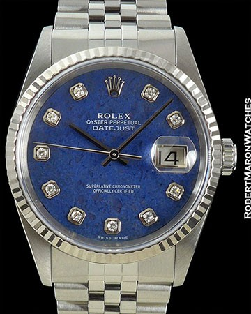 ROLEX DATEJUST 16234 SODALITE DIAL STEEL/WHITE GOLD BOX & PAPERS