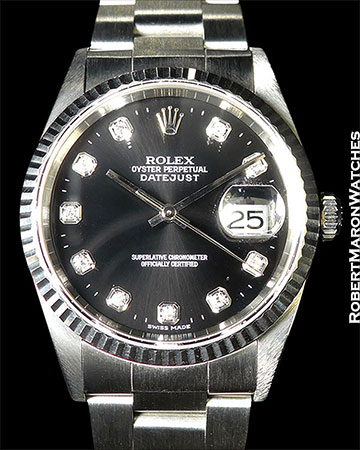 Rolex Ref. 16234 in Stainless with factory original rare blk diamond dial!  B/P
