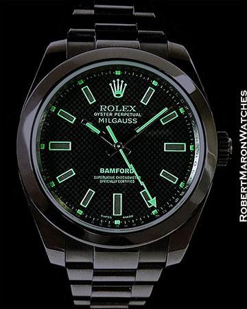 ROLEX 16400 MILGAUSS BAMFORD PVD STEEL GREEN STEALTH