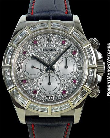 ROLEX DAYTONA 16589 18K WHITE GOLD BAGUETTE DIAMOND BEZEL PAVE DIAMOND DIAL w/ RUBIES