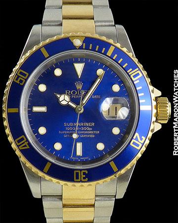 ROLEX REF 16613 SUBMARINER 18K/STEEL BLUE DIAL