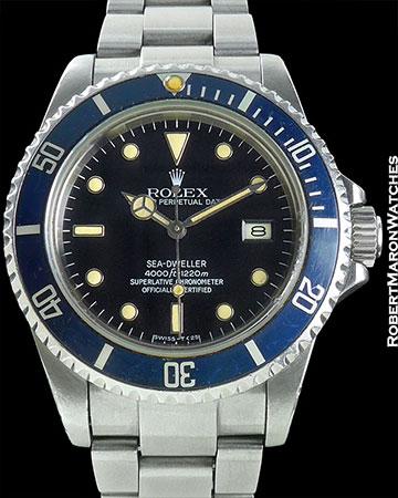 "ROLEX REF 16660 SEA DWELLER TROPICAL BLUE 'COLTRANE"" BEZEL ORIGINAL BOX/PAPERS CIRCA 1983"