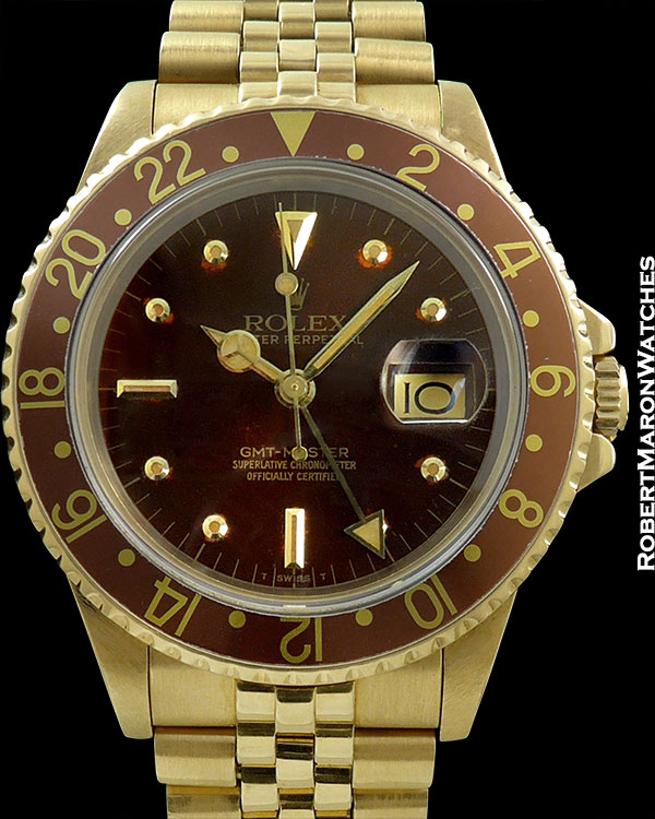 ROLEX REF 16758 GMT 18K TRANSITIONAL NIPPLE DIAL SAPPHIRE CRYSTAL B/P COMPLETE PLUS