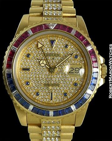 ROLEX GMT 16758 1ST SARU 18K DIAMOND BRACELET