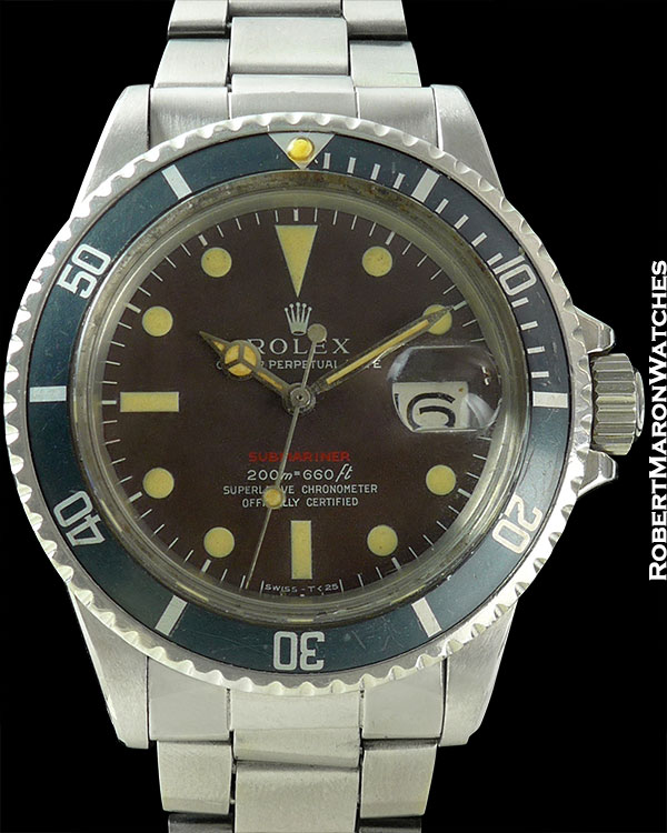"ROLEX REF 1680 ""METERS FIRST"" TROPICAL RED SUBMARINER CIRCA 1969"