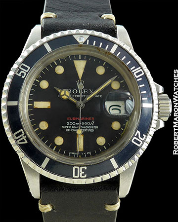 """ROLEX REF 1680 SUBMARINER """"RED"""" STEEL BOX/PAPERS CIRCA 1973"""