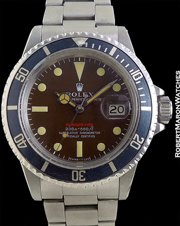 """ROLEX REF 1680 VINTAGE """"RED"""" SUBMARINER TROPICAL BROWN DIAL STEEL MINT CIRCA 1968"""