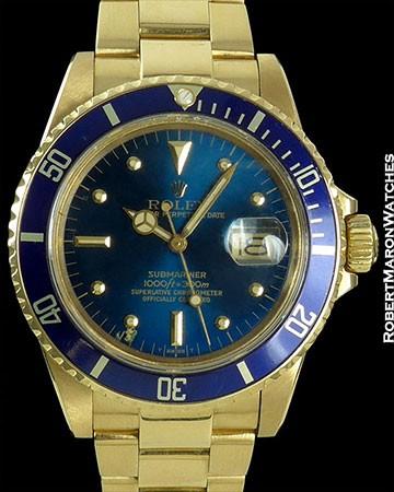 ROLEX SUBMARINER 18K 16808 BLUE DIAL NIPPLE DIAL